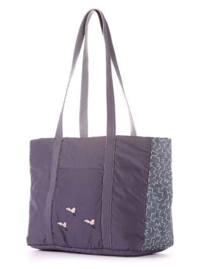 Модная сумка, модель 183864 серый. Фото товара, вид сзади.