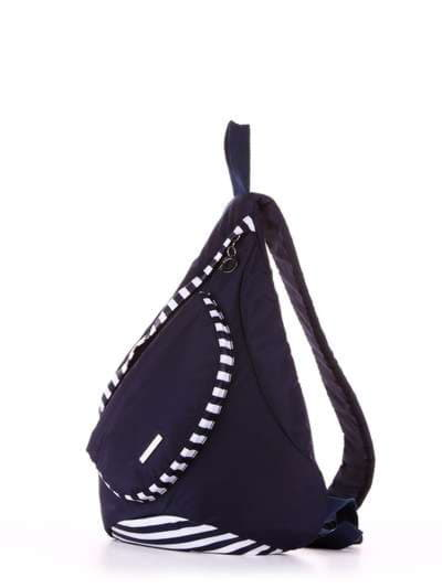 Брендовый моно рюкзак, модель 183821 синий/белая полоса. Фото товара, вид сзади.
