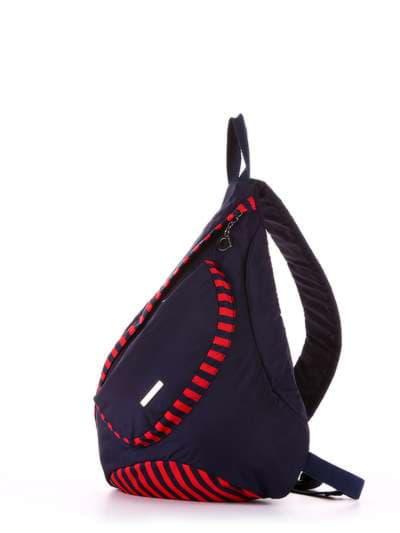 Женский моно рюкзак, модель 183822 синий/красная полоса. Фото товара, вид сзади.