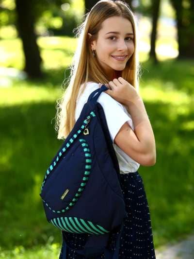 Стильный моно рюкзак, модель 183823 синий/зелёная полоса. Фото товара, вид спереди.