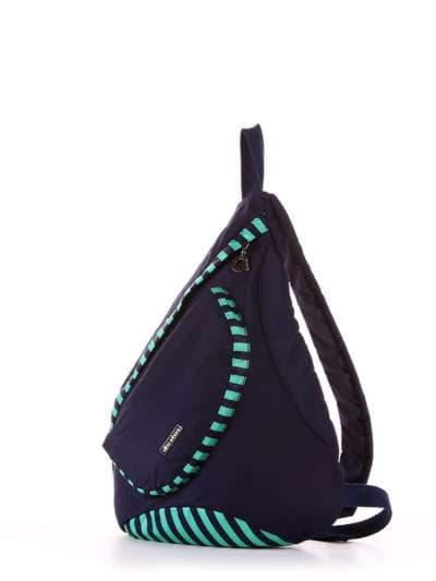 Стильный моно рюкзак, модель 183823 синий/зелёная полоса. Фото товара, вид сзади.