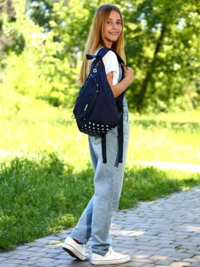 Молодежный моно рюкзак, модель 183824 синий/белый горох. Фото товара, вид спереди.