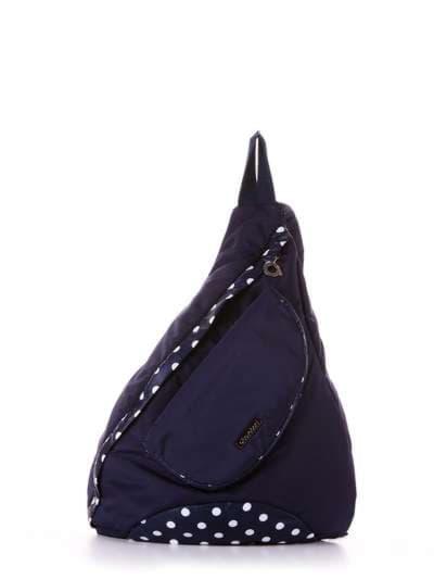 Молодежный моно рюкзак, модель 183824 синий/белый горох. Фото товара, вид сбоку.