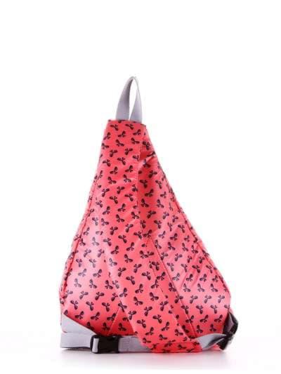 Стильный моно рюкзак, модель 183825 коралловый/серый. Фото товара, вид дополнительный.