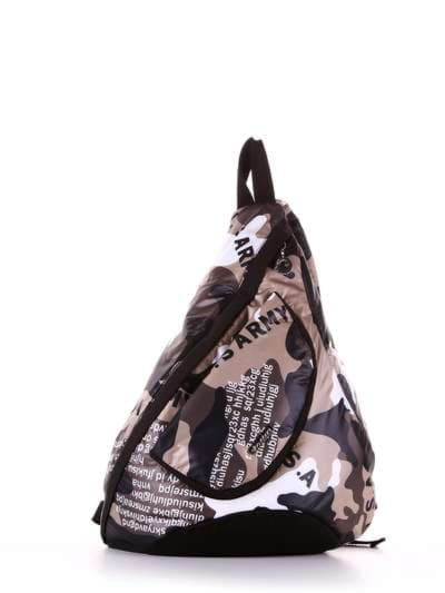 Модный моно рюкзак, модель 183826 милитари/черный. Фото товара, вид сбоку.