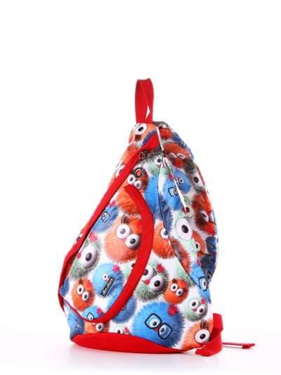 Брендовый моно рюкзак, модель 183827 веселые пушистики/красный. Фото товара, вид сзади.