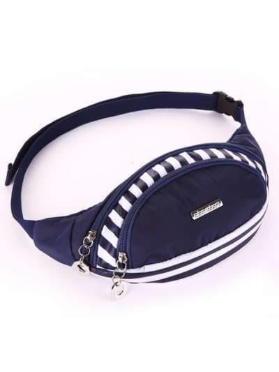 Стильная сумка на пояс, модель 183871 синий/белая полоса. Фото товара, вид сбоку.