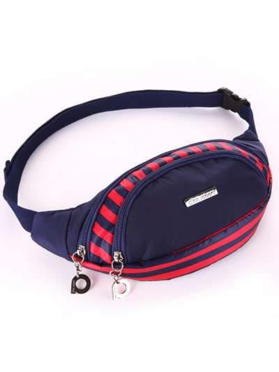 Стильная сумка на пояс, модель 183872 синий/красная полоса. Фото товара, вид сбоку.
