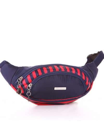 Стильная сумка на пояс, модель 183872 синий/красная полоса. Фото товара, вид сзади.