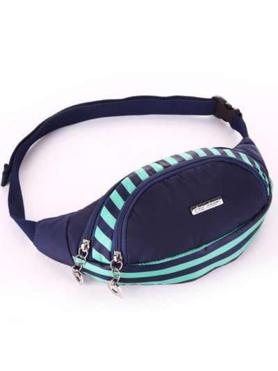 Молодежная сумка на пояс, модель 183873 синий/зелёная полоса. Фото товара, вид сбоку.