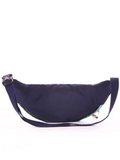 Молодежная сумка на пояс, модель 183873 синий/зелёная полоса. Фото товара, вид дополнительный.