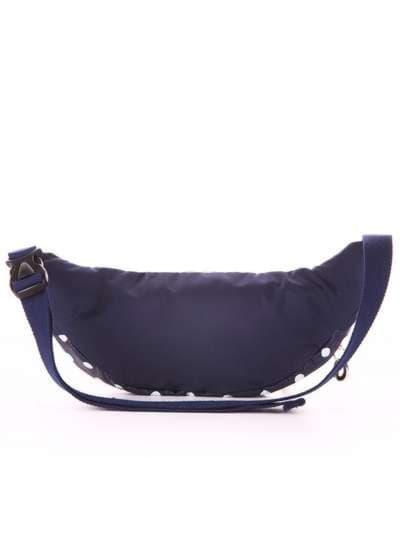 Молодежная сумка на пояс, модель 183874 синий/белый горох. Фото товара, вид дополнительный.