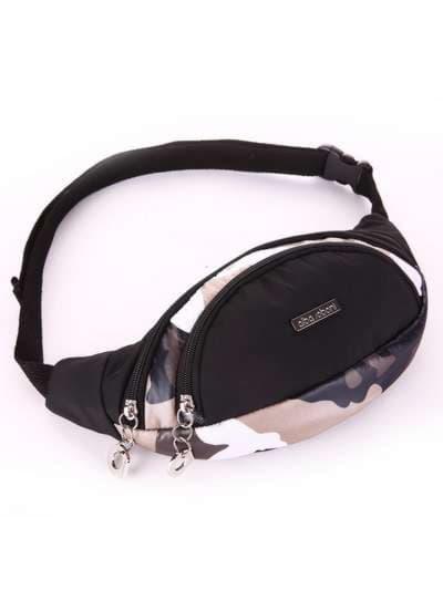 Стильная сумка на пояс, модель 183876 милитари/черный. Фото товара, вид сбоку.