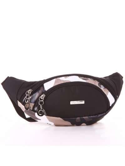 Стильная сумка на пояс, модель 183876 милитари/черный. Фото товара, вид сзади.