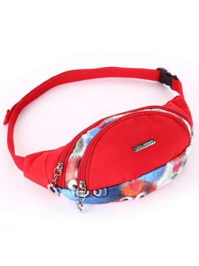 Стильная сумка на пояс, модель 183877 веселые пушистики/красный. Фото товара, вид сбоку.