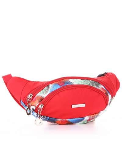 Стильная сумка на пояс, модель 183877 веселые пушистики/красный. Фото товара, вид сзади.