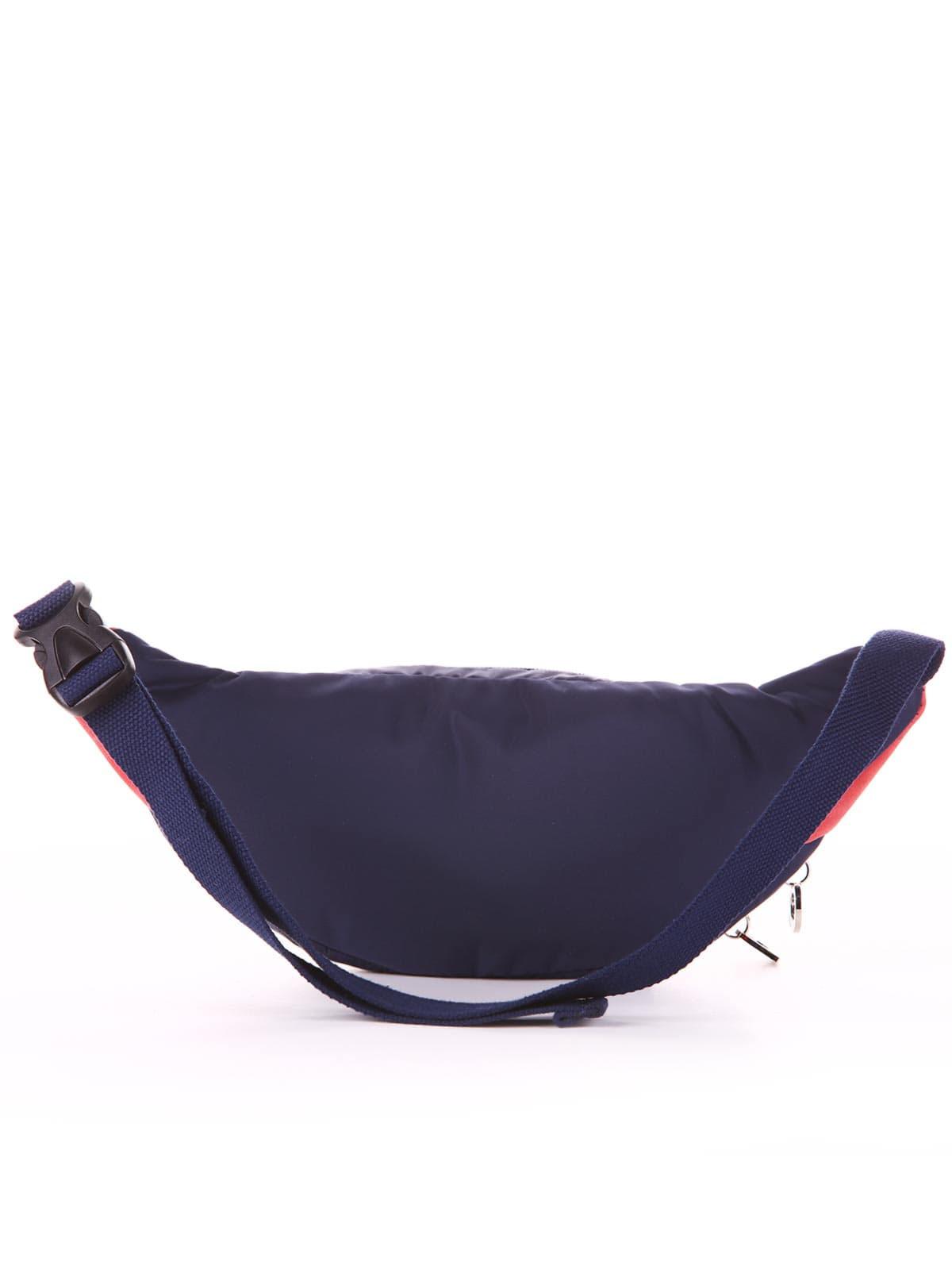 Молодежная сумка на пояс, модель 183881 сине-красный. Фото товара, вид дополнительный.