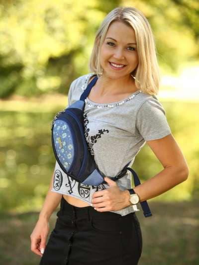 Модная сумка на пояс, модель 183882 синий. Фото товара, вид спереди.