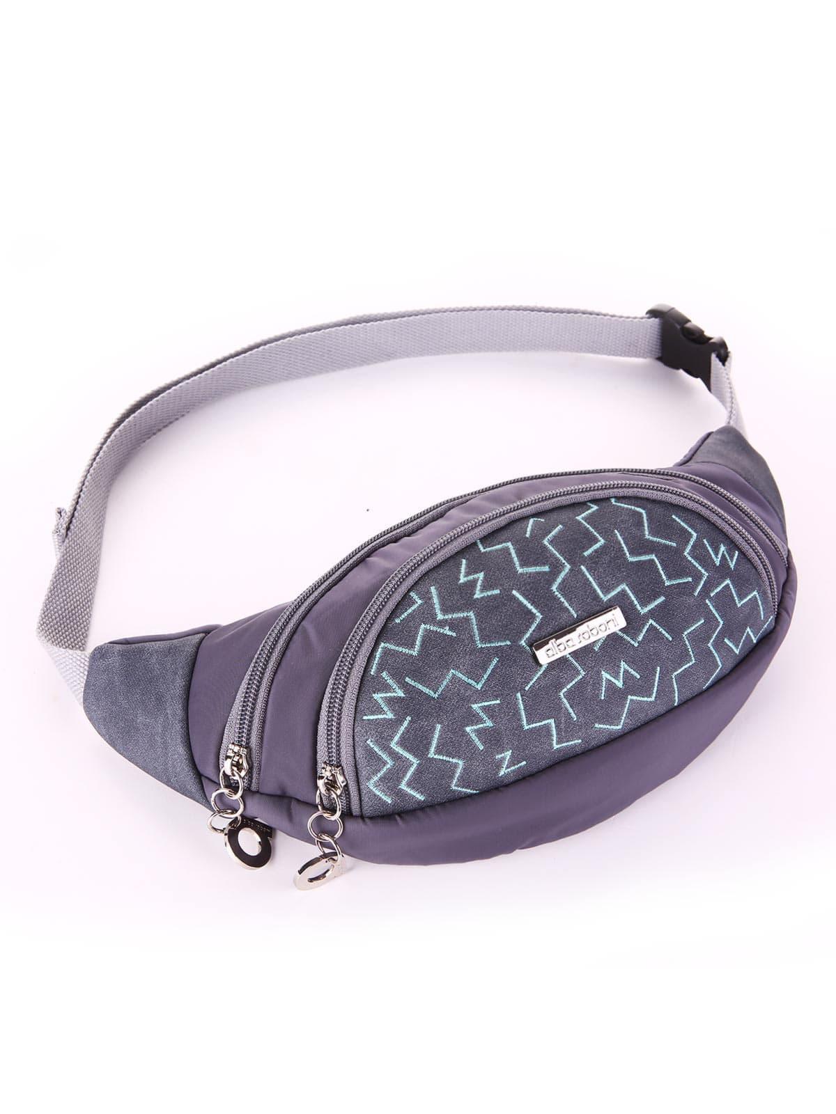 Модная сумка на пояс, модель 183884 серый. Фото товара, вид сбоку.