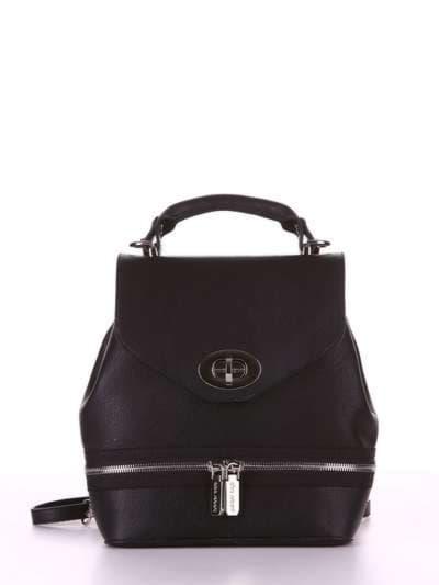 Модный мини-рюкзак, модель 180311 черный. Фото товара, вид спереди.