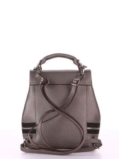 Стильный мини-рюкзак, модель 180315 серый. Фото товара, вид сзади.