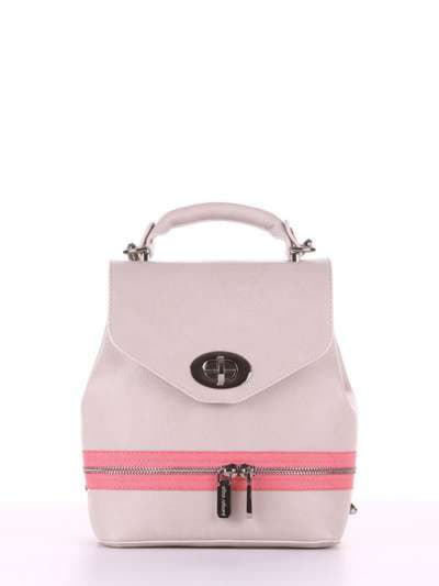 Брендовый мини-рюкзак, модель 180317 св. серый. Фото товара, вид спереди._product-ru