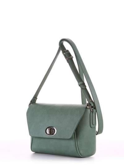 Молодежная сумка маленькая, модель 180322 зеленый. Фото товара, вид сбоку.
