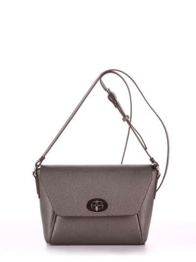 Модная сумка маленькая, модель 180325 серый. Фото товара, вид спереди.