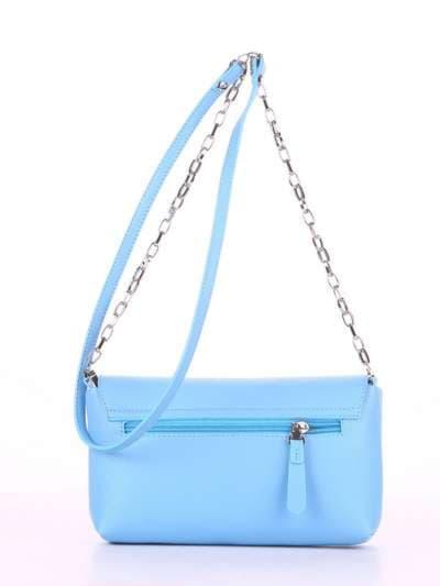 Модный клатч, модель 180301 голубой. Фото товара, вид сзади.