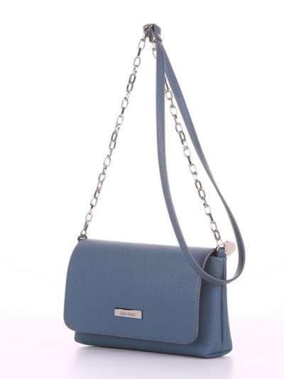Брендовый клатч, модель 180305 серо-синий. Фото товара, вид сбоку.