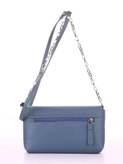 Брендовый клатч, модель 180305 серо-синий. Фото товара, вид сзади.