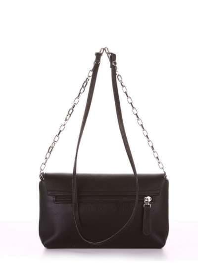 Модный клатч, модель 180331 черный. Фото товара, вид сзади.