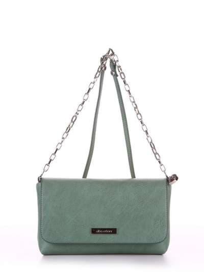 Модный клатч, модель 180332 зеленый. Фото товара, вид спереди.