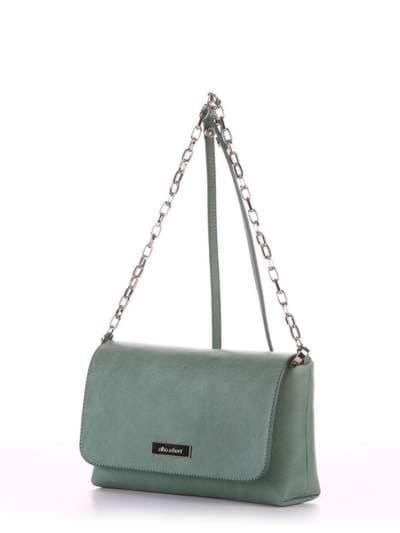 Модный клатч, модель 180332 зеленый. Фото товара, вид сбоку.