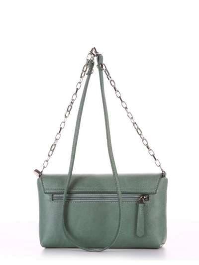 Модный клатч, модель 180332 зеленый. Фото товара, вид сзади.