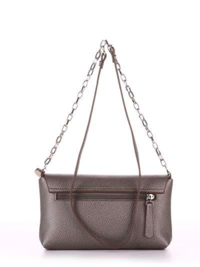 Стильный клатч, модель 180335 серый. Фото товара, вид сзади.