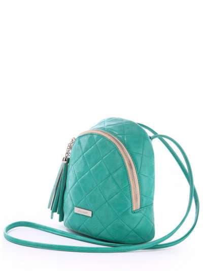 Женский мини-рюкзак, модель 171543 зеленый. Фото товара, вид сзади.