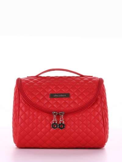 Стильная косметичка, модель 334 красный. Фото товара, вид спереди.