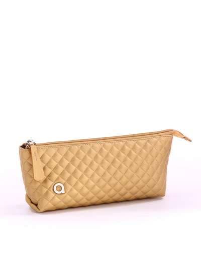 Модная косметичка-пенал, модель 742 золото. Фото товара, вид спереди._product-ru
