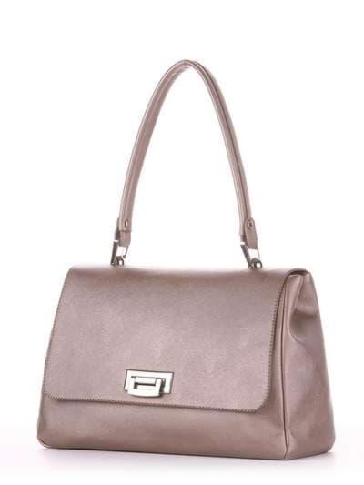 Стильная сумка-портфель, модель 181532 бронза. Фото товара, вид сзади.
