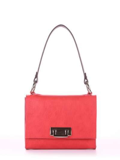 Модна сумка маленька, модель E18023 червоний-баклажан. Фото товару, вид спереду.