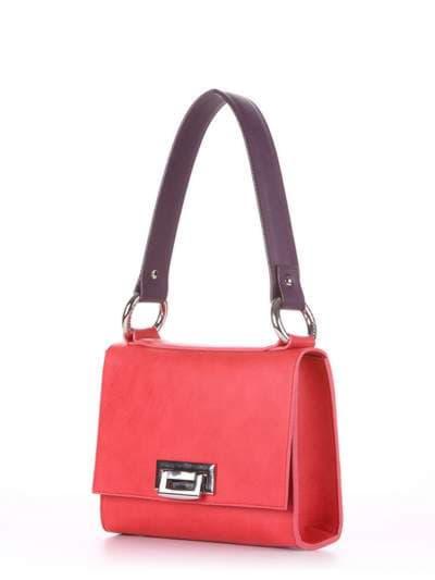 Модна сумка маленька, модель E18023 червоний-баклажан. Фото товару, вид збоку.