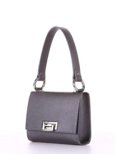 Стильна сумка маленька, модель E18026 графіт. Фото товару, вид збоку.