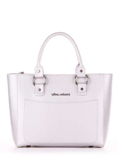 Молодежная сумка, модель 181722 серебро. Фото товара, вид спереди._product-ru