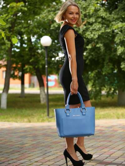 Стильная сумка, модель 181724 голубая волна. Фото товара, вид сбоку.