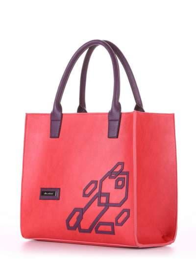 Брендовая сумка, модель E18003 красный-баклажан. Фото товара, вид сбоку.