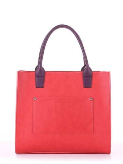 Брендовая сумка, модель E18003 красный-баклажан. Фото товара, вид сзади.