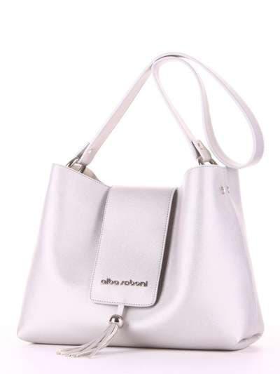 Молодежная сумка, модель E18032 серебро. Фото товара, вид сзади.