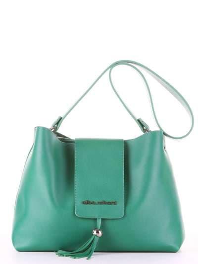 Брендова сумка, модель E18035 зелений. Фото товару, вид спереду.