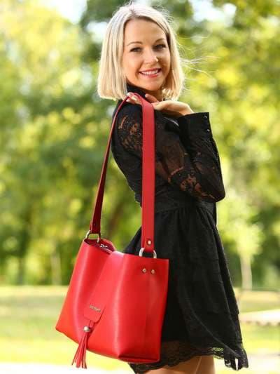 Стильная сумка, модель E18036 красный. Фото товара, вид сбоку.